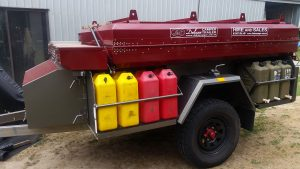 Fuel and water storage on a Deluxe Camper Trailer