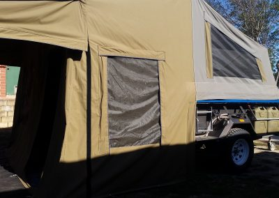 Safari camper trailer side view erected